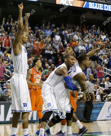 Rodney Hood, Tyler Thornton, Rasheed Sulaimon Duke players, from left, Rodney Hood, Rasheed Sulaimon, and Tyler Thornton, celebrate the team's 63-62 win over Clemson in an NCAA college basketball game in the quarterfinals of the Atlantic Coast Conference men's tournament in Greensboro, N.C