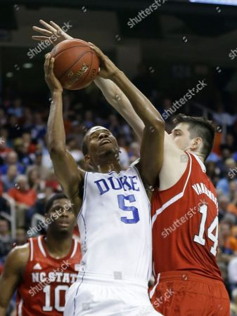 Rodney Hood, Jordan Vandenberg Duke's Rodney Hood (5) shoots over North Carolina State's Jordan Vandenberg (14) during the first half of an NCAA college basketball game in the semifinals of the Atlantic Coast Conference tournament in Greensboro, N.C