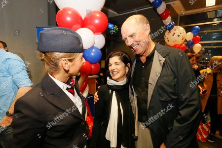 Claire Parsons, Luci Baines Johnson, Ian Turpin Luci Baines Johnson, center, and her husband Ian Turpin speak with British Airways ambassador Claire Parsons before boarding the airline's inaugural nonstop flight from Austin Bergstrom International Airport to London, England on in Austin, Texas. Johnson and Turpin are celebrating their 30th wedding anniverary with a trip to Europe. The flight marks the first regular transatlantic nonstop service for Austin