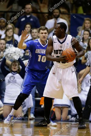 Khyle Marshall, Grant Gibbs Creighton guard Grant Gibbs, left, defends Butler forward Khyle Marshall in the first half of an NCAA college basketball game in Indianapolis