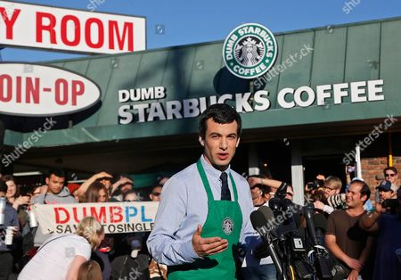 """Nathan Fielder Canadian comedian Nathan Fielder of the Comedy Central show """"Nathan For You"""" comes forward as the brainchild of """"Dumb Starbucks,"""" a parody store that resembles a Starbucks with a green awning and mermaid logo, but with the word """"Dumb"""" attached above the Starbucks sign. Starbucks Coffee spokeswoman, Laurel Harper says the store is not affiliated with Starbucks and, despite the humor, the store cannot use the Starbucks name"""