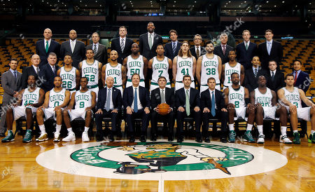 Kris Hump Members of the Boston Celtics pose for a team photo prior to a basketball game at TD Garden in Boston, . Top row, from left, are Jamie Young, Micah Shrewsberry, Ron Adams, Jay Larranaga, Walter McCarty, Brian McKeon, Ed Lacerte, Vladimir Shulman, Todd Campbell, and Brian Dolan. Middle row, from left, are Armond Lavallee, Phil Lynch, John Connor, Phil Pressey, Chris Babb, Jerryd Bayless, Joel Anthony, Jared Sullinger, Kelly Olynyk, Vitor Faverani, Chris Johnson, Kwame Graves-Fulgham, Brandon Bailey, and Bryan Doo. Botton row, from left, are Gerald Wallace, Avery Bradley, Rajon Rondo, Robert Epstein, Stephen Pagliuca, Wyc Grousbeck, Brad Stevens, Rich Gotham, Jeff Green, Brandon Bass, and Kris Humphries