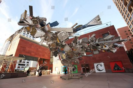 "Museum of Contmeporary Art, MOCA Shows, ""Airplane Parts,"" a sculpture by Nancy Rubins made of scraps of old airplanes wired together into a massive junk tree, greeting visitors to the Museum of Contemporary Art, MOCA, in downtown Los Angeles. MOCA officials say three of the four prominent artists who resigned from its board after a popular curator was fired two years ago have returned to help direct a new management team at the museum. MOCA was embarrassed in 2012 when John Baldessari, Barbara Kruger, Catherine Opie and Ed Ruscha quit in protest of the dismissal of longtime curator Paul Schimmel. The four were the only artists on MOCA's board at the time. The museum announced, that all but Ruscha are returning. They will be joined by fellow artist Mark Grotjahn"