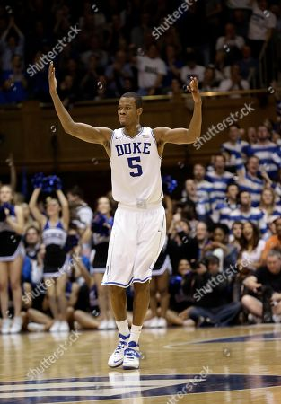 Rodney Hood Duke's Rodney Hood (5) reacts following a basket against North Carolina during the second half of an NCAA college basketball game in Durham, N.C., . Duke won 93-81