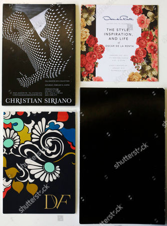 Stock Photo of Invitations to New York fashion shows are, clockwise from top left: Christian Siriano, Oscar de la Renta, Alexander Wang, and Diane von Furstenberg, in New York. The invitations are often mini-works of art, featuring floral designs, felt or stark minimalist with all-white or all-black surfaces