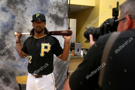 Stock Picture of Andrew McCutchen Pittsburgh Pirates' Andrew McCutchen, left, poses for Pittsburgh Tribune Review photographer Chris Horner during the team's baseball spring training photo day in Bradenton, Fla