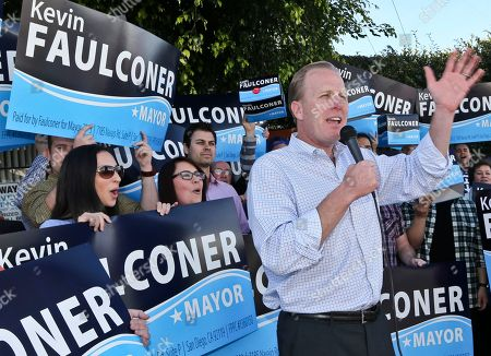 Kevin Faulconer San Diego mayoral candidate Kevin Faulconer speaks to his supporters outside his campaign headquarterss, in San Diego. Faulconer is facing fellow city commissioner David Alvarez in the race to replace disgraced mayor Bob Filner