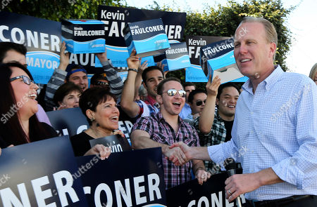 Kevin Faulconer San Diego mayoral candidate Kevin Faulconer shakes hands with his supporters outside his campaign headquarterss, in San Diego. Faulconer is facing fellow city commissioner David Alvarez in the race to replace disgraced mayor Bob Filner