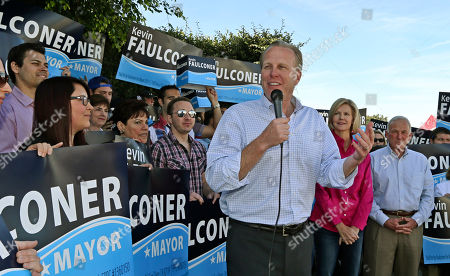 Kevin Faulconer San Diego mayoral candidate Kevin Faulconer, with his wife Katherine and former mayor Gerry Sanders behind him, speaks to his supporters outside his campaign headquarterss, in San Diego. Faulconer is facing fellow city commissioner David Alvarez in the race to replace disgraced mayor Bob Filner