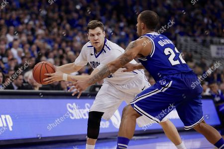 Grant Gibbs, Brian Oliver Seton Hall's Brian Oliver (22) guards Creighton's Grant Gibbs (10) in the second half of an NCAA college basketball game in Omaha, Neb., . Creighton won 72-71