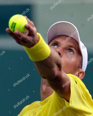 Nikolay Davydenko, Adrian Mannarino Nikolay Davydenko, of Russia, serves to Adrian Mannarino, of France, during the first round at the Sony Open tennis tournament at Key Biscayne, Fla
