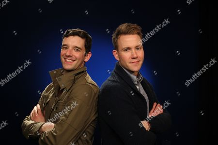 """This photo shows actors Michael Urie, left, and Christopher J. Hanke in New York. Urie will kick off a mini international tour with Jonathan Tolins' utterly charming and often wacky one-man show """"Buyer & Cellar."""" Urie, whose off-Broadway run ends March 16, will be replaced starting March 18 by Broadway veteran Christopher J. Hanke at the play's home at the Barrow Street Theatre"""