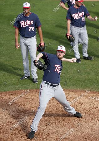 Matt Hoffman Minnesota Twins relief pitcher Matt Hoffman delivers a throw during spring training baseball practice, in Fort Myers, Fla