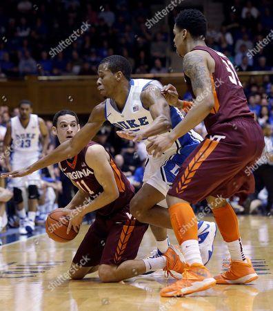 Rodney Hood, Jarell Eddie, Devin Wilson Virginia Tech's Devin Wilson (11) looks to pass to Jarell Eddie (31) as Duke's Rodney Hood defends during the first half of an NCAA college basketball game in Durham, N.C