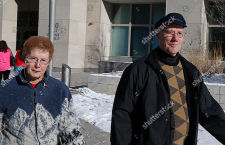 """Stock Image of Donna Ralston, Larry Ralston Donna and Larry Ralston, the parents of Aron Ralston, of """"127 Hours"""" fame, exit the Denver Justice Center after a hearing following the arrest of their son and his girlfriend Vita Shannon in connection with a weekend altercation, in Denver, . No charges were filed against Ralston, but Shannon still faces charges including assault and disturbing the peace"""