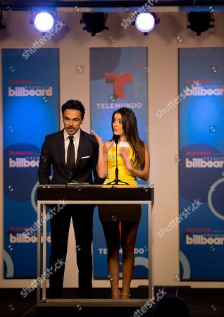 Shalim, Daniela Navarro Puerto Rican singer Shalim and Venezuelan actress Daniela Navarro on stage, in Miami during a news conference to announce the finalists for the Billboard Latin Music Awards. The awards will air live on the Telemundo network April 24