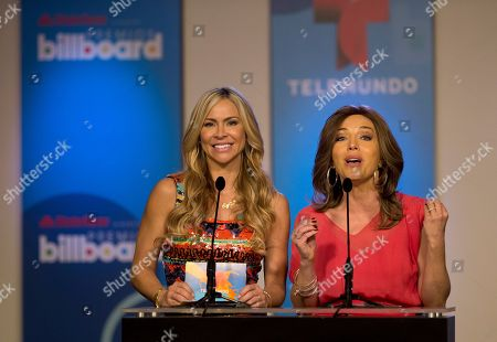 Stock Image of Aylin Mujica, Laura Flores Cuban actress Aylin Mujica, left, and Mexican actress Laura Flores on stage, in Miami as they host a news conference announcing the finalists for the Billboard Latin Music Awards. The awards will air live on the Telemundo network April 24