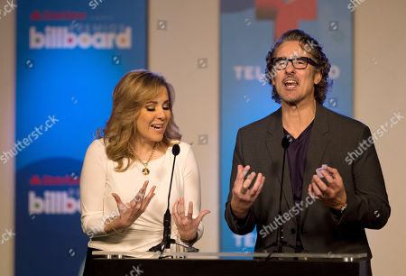 Miguel Varoni, Ana Maria Canseco Telemundo television personalities Ana Maria Canseco, left, and Miguel Varoni share a joke as they announce finalists, in Miami during a news conference for the Billboard Latin Music Awards. The awards will air live on the Telemundo network April 24