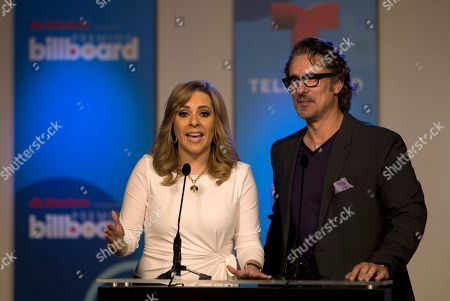 Miguel Varoni, Ana Maria Canseco Telemundo television personalities Ana Maria Canseco, left, and Miguel Varoni announce finalists, in Miami during a news conference for the Billboard Latin Music Awards. The awards will air live on the Telemundo network April 24