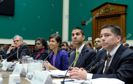 Tom Wheeler, Mignon Clyburn, Jessica Rosenworcel, Ajit Pai, and Michael O'Rielly Federal Communications Commission Chairman Tom Wheeler, left, testifies before the House Energy and Commerce Committee on cell phones on planes during a hearing on Capitol Hill in Washington, . Wheeler told members of Congress that while his agency sees no technical reason to ban calls on planes, Department of Transportation Secretary Anthony Foxx told him Thursday morning that the DOT will be moving forward with its own restrictions. Wheeler is joined at the witness table with FCC Commissioners from left, Mignon Clyburn, Jessica Rosenworcel, Ajit Pai, and Michael O'Rielly