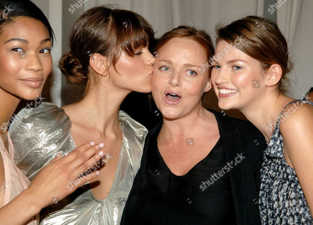 Stella with models from left to right, Chanel Iman, Freja Beha and Bette Franke, the faces of the Stella McCartney perfume campaign