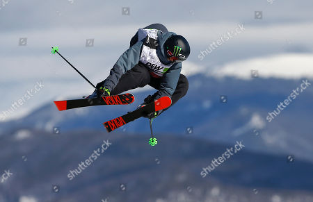 Canada's Alex Beaulieu-Marchand flies off a jump during the slopestyle freestyle skiing final at the Dew Tour iON Mountain Championships, in Breckenridge, Colo