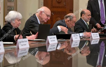 Ben Bernanke, Paul Vocker, Alan Greenspan, Janet Yellen From left, Janet Yellen, former Chairman Paul Volcker, former Chairman Alan Greenspan, and outgoing Chairman Ben Bernanke, participate in the ceremonial signing of a certificate commemorating the 100th anniversary of the signing of the Federal Reserve Act at the Federal Reserve Building in Washington. On, all four living Fed leaders, past and present, will gather for a public conversation to take stock of the outsize role each has played
