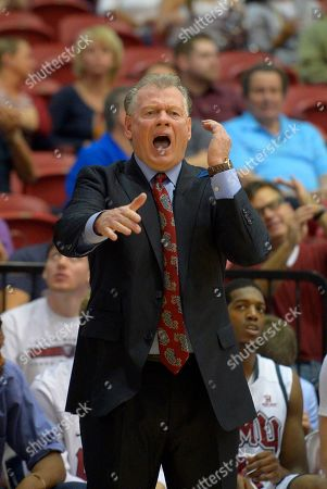 Stock Picture of Max Good Loyola Marymount head coach Max Good gestures during the first half of an NCAA college basketball game against Gonzaga, in Los Angeles