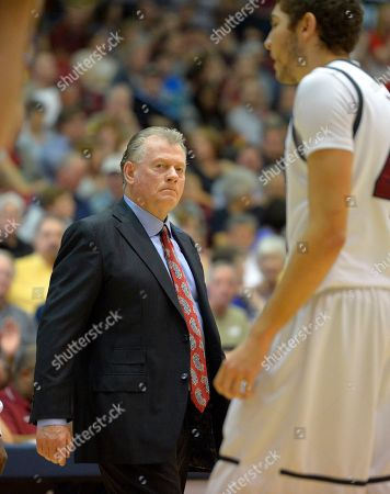 Max Good Loyola Marymount head coach Max Good glares at forward Marin Mornar during the first half of an NCAA college basketball game against Gonzaga, in Los Angeles