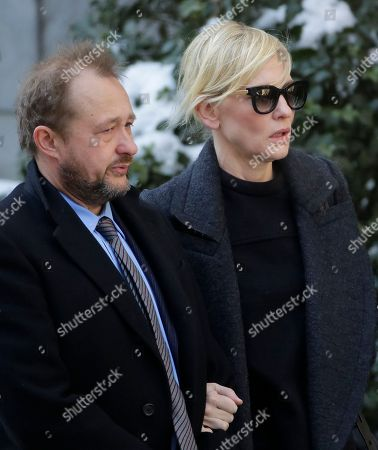 Philip Seymour Hoffman, Andrew Upton, Cate Blanchett Filmmaker Andrew Upton, left, and his wife Cate Blanchett arrive for the funeral of actor Philip Seymour Hoffman at the Church of St. Ignatius Loyola, in New York. Hoffman, 46, was found dead Sunday of an apparent heroin overdose