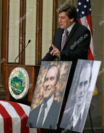 Andy Jacobs speaks during a funeral service for his dad and former Indiana Congressman Andrew Jacobs Jr. at the Statehouse, in Indianapolis. Jacobs died Saturday, Dec. 28, 2013, at age 81