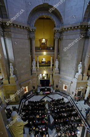Indiana Gov. Mike Pence speaking during a memorial service for former Indiana Congressman Andrew Jacobs Jr. at the Statehouse, in Indianapolis. Jacobs died Saturday, Dec. 28, 2013, at age 81