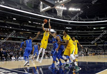 Isaiah Austin, James Young Baylor center Isaiah Austin (21) goes up for a shot as Kentucky's James Young (1) defends in the first half of an NCAA college basketball game at AT&T stadium, in Arlington, Texas