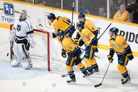 Ben Scrivens, Mike Fisher, David Legwand, Patric Hornqvist, Shea Weber, Roman Josi Los Angeles Kings goalie Ben Scrivens (54) waits by the net as Nashville Predators' Mike Fisher (12); David Legwand (11); Patric Hornqvist (27), of Sweden; Shea Weber (6); and Roman Josi (59), of Switzerland, skate to the bench after Fisher scored his first of two goals in the third period of an NHL hockey game, in Nashville, Tenn. Fisher scored his second goal minutes later to give the Predators a 3-2 win