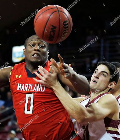 Charles Mitchell, Danny Rubin Maryland forward Charles Mitchell (0) battles Boston College guard Danny Rubin, right, for a rebound, during the first half of an NCAA basketball game, in Boston