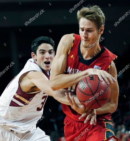 Jake Layman, Danny Rubin Maryland forward Jake Layman, right, tries to keep a grip on the ball as he is pressured by Boston College guard Danny Rubin, left, during the second half of an NCAA basketball game, in Boston. Maryland beat Boston College 88-80