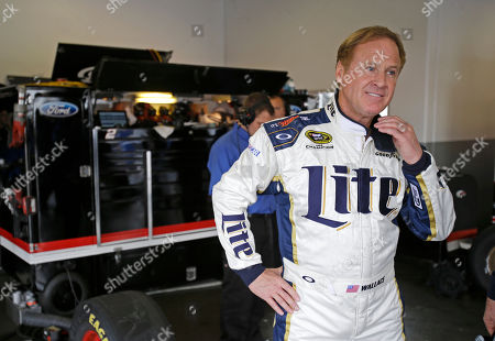 Rusty Wallace NASCAR Hall of Famer Rusty Wallace waits in the garage as he prepares to go out on the track in driving Brad Kesekowski's car during Sprint Cup auto racing testing at Daytona International Speedway in Daytona Beach, Fla