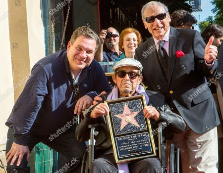 """Jeff Garlin, Paul Mazursky, Mel Brooks Actor Jeff Garlin, left, and directors Paul Mazursky, center, and Mel Brooks, right, attend the ceremony honoring Mazursky with a star on the Hollywood Walk of Fame in Los Angeles. Mazursky, 84, the writer-director of such films as """"Bob & Carol & Ted & Alice"""" and """"An Unmarried Woman,"""" has died. Mazursky's spokeswoman Nancy Willen says the filmmaker died of pulmonary cardiac arrest, at Cedars-Sinai Medical Center in Los Angeles"""