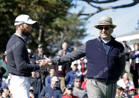 Lucas Black, Andy Garcia Actors Lucas Black, left, and Andy Garcia, right, greet each other after a putt on the third green of the Pebble Beach Golf Links during the celebrity shootout event of the AT&T Pebble Beach Pro-Am golf tournament, in Pebble Beach, Calif. Black and Garcia won the event