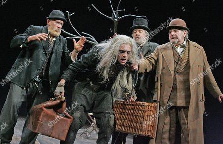 Alan Opie (Estragon), Richard Dormer (Lucky), James Laurenson (Vladimir) and Terence Rigby (Pozzo)