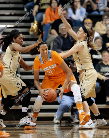 Morgan Batey, Kylee Smith, Mercedes Russell Tennessee center Mercedes Russell (21) tries to get past Vanderbilt defenders Morgan Batey, left, and Kylee Smith, right, in the first half of an NCAA college basketball game, in Nashville, Tenn
