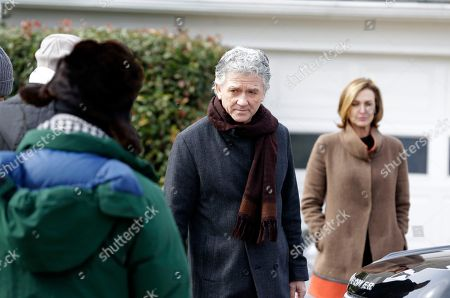 Stock Photo of Patrick Duffy, Brenda Strong Actor Patrick Duffy, center rehearses a scene with Brenda Strong, right, and film crew during production for the television series Dallas at Southfork Ranch in Parker, Texas. The third season of the reboot of the classic series, which premieres Monday, Feb. 24 on TNT, marks the first full season without Larry Hagman, who died of complications from cancer in November 2012 at age 81