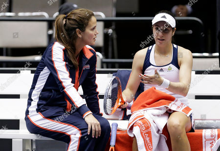 Christina McHale United States' Christina McHale, right, talks with coach Mary Joe Fernandez during a break in a Fed Cup world group tennis match against Italy's Karin Knapp, in Cleveland. Knapp won the match