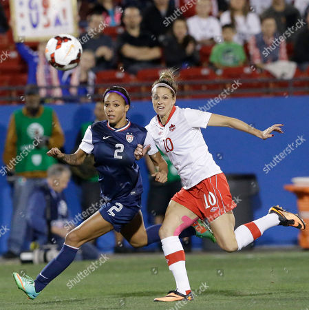 Sydney Leroux, Lauren Sesselmann U.S forward Sydney Leroux (2) and Canada defender Lauren Sesselmann (10) chase the ball during the first half of a soccer game, in Frisco, Texas. The United States won 1-0