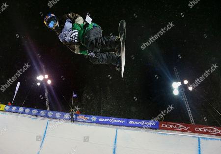 Louie Vito Louie Vito flips above the lip during the World Cup U.S. Grand Prix halfpipe snowboarding finals, in Frisco, Colo