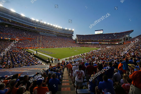 Ben Hill Griffin Stadium at Florida Field is seen during the first half of an NCAA college football game between Florida and Arkansas in Gainesville, Fla