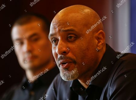 Tony Clark, Jeremy Guthrie Tony Clark, the newly named Executive Director of the Major League Baseball Players Association, answers questions during a news conference at the organizations' annual meeting, in San Diego. Clark, who replaced the late Michael Weiner, is flanked by executive board member Jeremy Guthrie