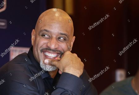 Stock Image of Tony Clark Tony Clark, the new Executive Director of the Major League Baseball Players Association, during a news conference, in San Diego. Clark is succeeding Michael Weiner, who passed away last month
