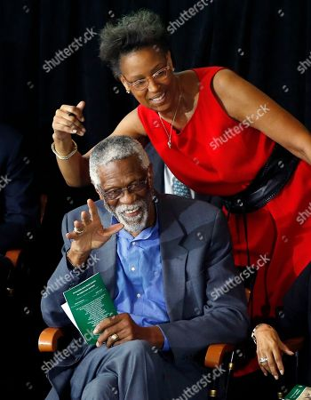 Bill Russell, Karen Kenyatta Russell Former Boston Celtics basketball star Bill Russell waves alongside his daughter, Karen Kenyatta Russell, during a ceremony honoring him after a statue of him was unveiled at City Hall Plaza in Boston