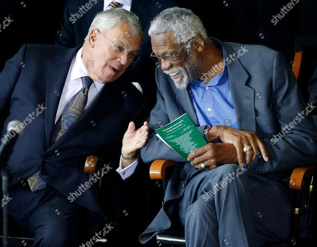 Bill Russell, Thomas Menino Former Boston Celtics basketball star Bill Russell, right, chats with Boston Mayor Thomas Menino during a ceremony honoring Russell after his statue was unveiled at City Hall Plaza in Boston